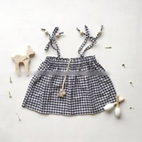 Wholesale Tee Tank Children - New Summer Baby Girls T-shirts Tops Plaid Tank Gallus Tee Children Clothing Girl's Shirts Gird Bowknot Sleeveless Girl Shirts A6838