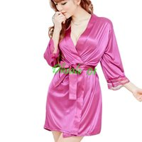 Wholesale Silk Robe String - sexy satin sleepwear silk nightdress robe with G-string lingerie 50set lot