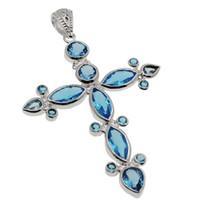 Wholesale Wholesale Jewelry Blue Topaz - 925 Sterling Silver London Blue Topaz Pendants Necklace Huge Cross Hermosa Jewelry Gemstone Sparkle Women Pendants