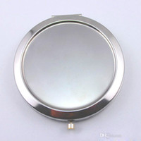 Wholesale Silver Makeup Compacts - 2017 New pocket mirror Silver blank compact mirrors Great for DIY cosmetic makeup mirror Wedding Party
