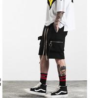 Wholesale Men S Fashion Rings - RAVEN 2017 S S high street circle ring zipper pockets shorts pants casual fashion rick owens style