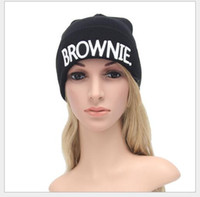Wholesale Earmuffs For Men - Europe and the fall and winter new knitting hat hats for men and women of letters BROWNIE hat earmuffs warm hat