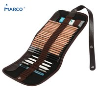 Wholesale Marco Pencil - Wholesale-Marco Canvas Pencil Bag Set Pencil Case+Eraser+Pencils+Extender +Utility Knife ,Art Supplies Stationery For Artist  Student