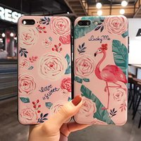 Pink Flamingos Flower Phone Case pour iphone 8 plus Fashion Shockproof Soft TPU Silicone Back Cover pour iphone 7 6 6s plus