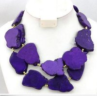 Wholesale Turquoise Bead Strand Necklace - 2 Strands 25-35mm Woman Purple Turquoise Slice Stone Choker Necklace Gold Bead Mixed
