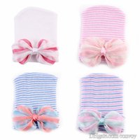 """Wholesale Baby Boy Crochet Lace - 0-6M Newest Newborn Baby Crochet Hats with Big Bow Cute Baby Girl Lace Chiffon Knitting Stripe Hedging Caps Cotton 4"""" Bow Beanie BH59"""