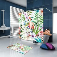 Wholesale Water Proof Fabric - Bath Curtains Friendly Polyester Fabric Water Proof Creative Flamingo Printed Shower Curtain Bathroom Decor Supplies KKA2474