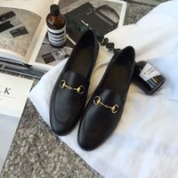 2017 Women Fashion Brand Design Buckle Slip on Round Toe Loafers Ladies Leather Casual Shoes
