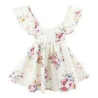 vêtements de style bohème pour les enfants achat en gros de-2017 été nouvelles robes de mode pour filles style bohème dos nu à volants coton floral vacances robe d'été enfants vêtements 1-6A 7125