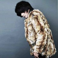 Wholesale Leopard Fur Coat Rabbit - Wholesale- Mens faux fur coat Winter warm long sleeve outwear New fashion faux rabbit jacket Leopard Male clothing Size S-4XL novelty