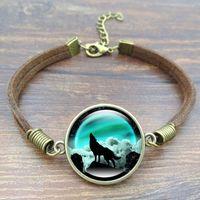 Wholesale Vintage Art Glass Bracelet - Hot Sale! 5PCS Wolf Art Image charm bracelet Glass Cabochons Vintage Bronze Accessories Brown Rope Chain Link Bracelet For Women