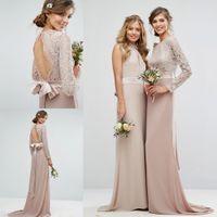Wholesale Wedding Dresses Round Back - 2017 Lace Champagne Wedding Dress With Bow Sash Sheer Round Neck Keyhole Back Chiffon Long Sleeves Bohemian Sheath Wedding Bridal Gowns