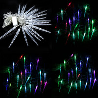 Wholesale color changing pendant - Wholesale- Bright color changing RGB 20LED 220V 4M LED String Light Waterproof EU Plug Icicle Pendant String for Christmas Party Decoration