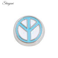 Wholesale Peace Charm Floating - Zinc Alloy Blue Peace Charms Pendant for Floating Glass Living Memory Locket Charms Bracelet DIY Jewelry 9*9mm