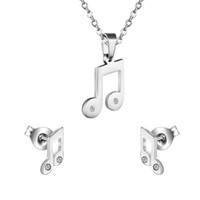 notas de música brincos venda por atacado-2016 Hot Jewelry Set Brincos + Colar Pingente de Música Musical Nota de Aço Inoxidável Brilhante CZ Presente de Aniversário de Cristal, Livre Cadeia