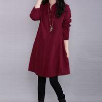 Wholesale Red Elegant Dress Long Xs - Fashion Autumn Dress 2017 Elegant Women Casual Loose Long Sleeve Linen Shirt Dresses Solid Pocket Vestidos Plus Size 3 Colors