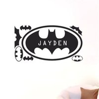 Wholesale personalised wall stickers art resale online - Custom Personalised any Name Batman Home Wall Art Stickers for Kid Boys room home Decor Mural DIY cm