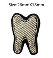 Wholesale Teeth Brooches - 2017 New High quality 3D HAND EMBROIDERED Tooth PIN Jewelry Patches Badge France BULLION WIRED BLAZER BROOCHES