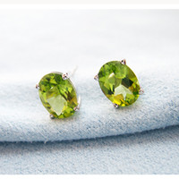 Wholesale Natural Green Peridot - Wholesale price silver Stud Earrings 925 Solid Sterling Silver jewelry 100% natural olivine gemstone stud earrings for woman gift
