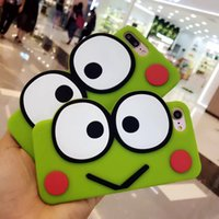 Wholesale Iphone Frog Case - 3D Cute Frog Soft Silicone Case For Iphone 7 7 Plus 7Plus Green Cases For Iphone 6 6S Plus 6Plus Cute Lovely Cartoon Rubber Cases Skin Cover