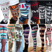 Wholesale Thick Snowflake Leggings - Socks Womens Snowflakes Reindeer Print Leggings Knitted Pants Nordic Winter Thick Warm Bootcut Cute Comfortable Deer Design Wool Blend Soc
