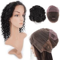 Wholesale Tangle Free Full Lace Wigs - Full Lace Raw Temple Indian Virgin Human Hair Wigs Glueless Deep Wave 1B Natural Color No Tangle Knots Free Hair Wigs 9A Diamond