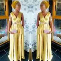 Wholesale Degree Dresses - Elegant African Gold Evening Dresses Long A-Line Sashes Deep V-Neck Prom Gowns Dress for the Degree Formal Dresses Floor Length Prom Dress