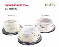 Luz de tira del RGB LED de 5M / roll 12V SMD3528 5050 5630 cinta de 300led Strip Non-waterproof para la decoración flexible Lampada Led de la barra del hogar de la tira