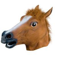 ingrosso maschera di cavallo nera-Maschera di cavallo di Halloween di Cosplay ZOO di animale del lattice del costume del partito del puntino nero Unicorn del zebra del Brown