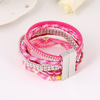 Wholesale Brazilian Gold Jewelry - Wholesale- 2015 New Handmade Jewelry Bohemian Braided Leather Wrap Brazilian Bracelet Pink Ribbon Bangle with Magnetic Clasp for Women Men