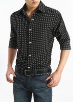 Wholesale Dresses Xx - Wholesale- Top Quality 2016 Rock Cacusal Shirt Men Dot Slim Fitness Lapel Long Sleeve Shirts Male Cotton Plus Size Covered Button Tops XX