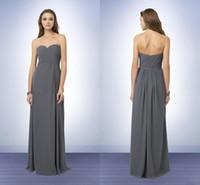 Wholesale Charcoal Dress Gown Image - Bridemaids Dresses Cheap 2017 Beach Plus Size Gray charcoal Chiffon Sweetheart Pleats Corset Floor Length Long Bridesmaid Gowns