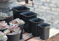 Wholesale Pots For Flowers - 2017 NEW 4 size option square nursery plastic flower pot for indoor home desk, bedside or floor, and outdoor yard,lawn or garden planting MY
