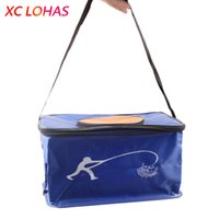 Wholesale Wholesale Carp Fishing Tackle - Wholesale- 4 Sizes Big Folding Live Fish BOX Plastic Carp Fishing Bucket Water Tank With Handle Bags Fishing Tackle Accessories