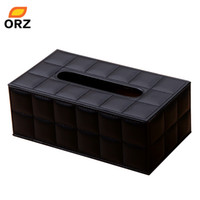 Atacado - Tissue Paper Boxes Black Leather Pu Facial Guardanapo Cover Organizer Office Car Household Toilet Paper Holder Container Tissue Box