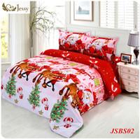 Wholesale Christmas Queen Size Comforter - Wholesale-2016 jessy home Christmas Merry kids duvet comforter cover twin queen size 4pc Santa Claus Deer bed set bed linen bedclothes
