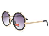 lunettes de soleil rondes arrow achat en gros de-KW classique mode rétro personnalité ronde cadre lunettes de soleil femmes alliage cadres en métal flèche jambes logo lunettes viennent avec des boîtes