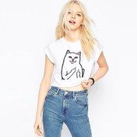 Wholesale Cat Lady T Shirt - Wholesale- ZSIIBO Darkness Cat Style Women Crop Top Summer Funny Print Short Sleeve T-Shirt Lady Cropped Hardcore Tee Shirts KaDIY211