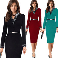 Wholesale Dresses Belted Tunics - Women's Tunic Belted Vintage Long Sleeve Patchwork Contrast Polka Dot Lapel Wear to Work Pencil Office Dress