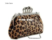 Wholesale Leopard Knuckle Ring - Hot Sale - Designed New Skull Knuckle Ring Leopard Handbag Shoulder Tote Party Evening Bag