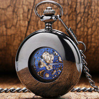 Wholesale-Fashion Cool Black Oco Case Smooth Com Azul Número Romano Dial Mecânico Pocket Watch Com Cadeia Gift To Men Women