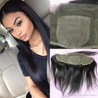 Wholesale Top Closure Bangs - Malaysian silk top lace frontal human hair free part lace frontal with bangs 13x4 lace frontal closure bleached knots