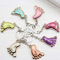 Wholesale Baby Shower Keychains - Cute Mini Foot Shaped Keychains Love Keyrings for Baby Shower Baptism Gifts Giveaway Souvenirs Free Shipping ZA3816