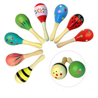 Wholesale Baby Wooden Toy Rattle Baby cute Rattle toys Orff musical instruments Educational Toys Mix styles