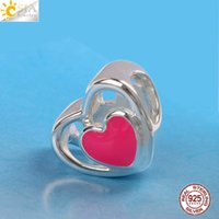 CSJA não banhado Real S925 gravado em prata esterlina jóias Rose Red Love Heart Loose Beads Encantos Gift Fit Original Pandora DIY Making E611