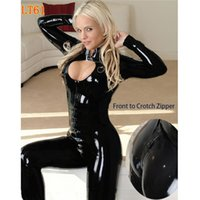 Wholesale Sexy Wear Bust Open - New Sexy Lingerie Black PU Leather Rubber Flexible Women Catsuit Sexy Club Wear Open Bust Costumes for Women Plus Size 2407010