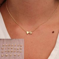 Wholesale wholesale sweaters for women - 26 letters Sweater Chain Necklaces tiny love heart Pendants for Women collier lovers gift choker necklace pendant