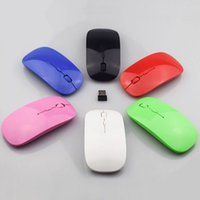 Wholesale Ultra thins USB Optical Wireless Mouse G Receiver Super Slim Mouse For Apple Computer PC Laptop Desktop