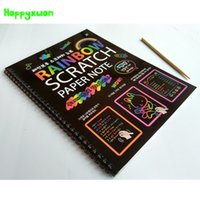 2-4 Years black magic paint - Happyxuan books New cm Large Black Scratch Art Paper Notebook Magic Drawing Toys Scraping Painting Children