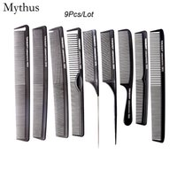 Wholesale hair designs salon - 9 pcs Comb Set Profeesional Hair Cutting Carbon Comb In Different Designs, Carbon Antistatic Comb Set For Salon CT-08